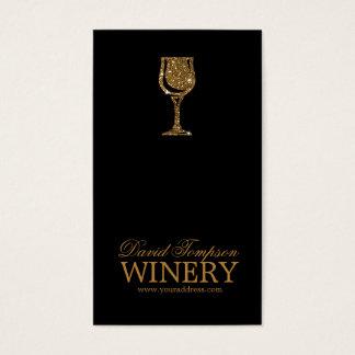 Goldene Glaswein-Herstellersommelier-Schwarz-Karte Visitenkarten
