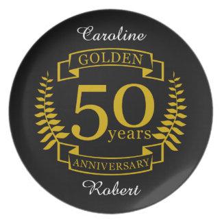 GOLDENE goldene 50 Jahre Hochzeitstag-50 alle Flacher Teller