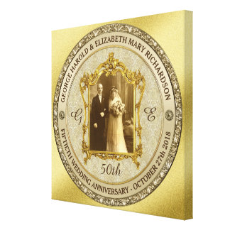 Goldene Hochzeits-Jahrestags-klassischer Leinwanddruck
