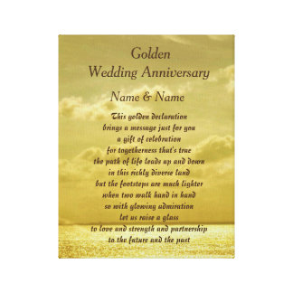 Goldene Hochzeits-Jahrestags-Leinwand Leinwanddrucke