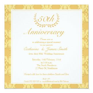 Goldene Hochzeitstag-Einladung des Damast-50. Quadratische 13,3 Cm Einladungskarte