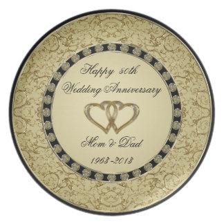 Goldene Hochzeitstag-Melamin-Platte Party Teller
