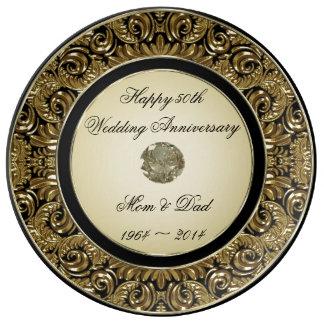 Goldene Hochzeitstag-Porzellan-Platte Porzellanteller