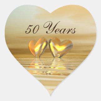 Goldene Jahrestags-Herzen Herz-Aufkleber