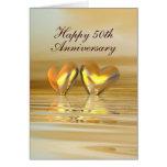 Goldene Jahrestags-Herzen (hoch) Grußkarte