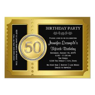 Goldene Karten-50. Geburtstags-Party 12,7 X 17,8 Cm Einladungskarte