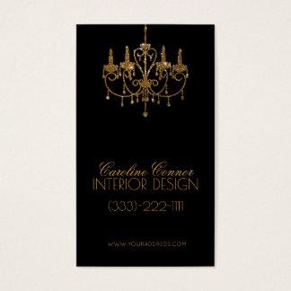 Goldene Leuchter-Innenarchitekt-Schwarz-Karte Visitenkarten
