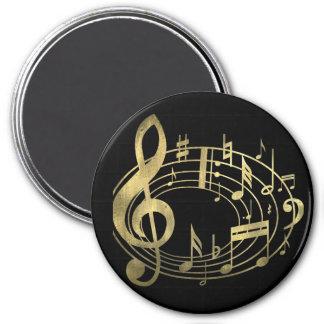 Goldene musikalische Anmerkungen in der ovalen Runder Magnet 7,6 Cm