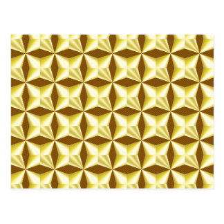 Goldene Pillowed Quadrate auf Brown Postkarte