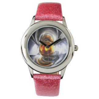 Goldene Riss-Pastellabstraktes Armbanduhr