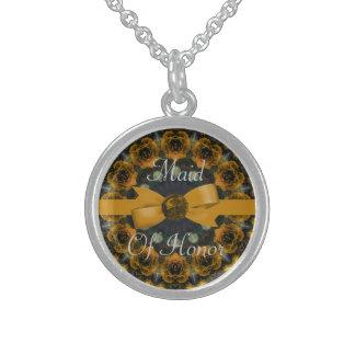 Goldene Rosenmandala-Hochzeit Sterling Silberkette