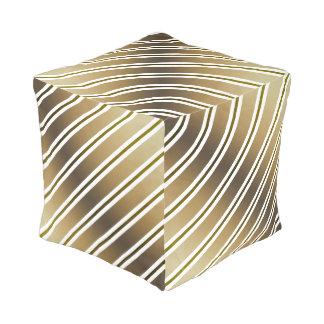 Goldene Streifen Kubus Sitzpuff