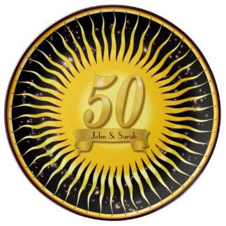 Goldene Sun- und Porzellanteller