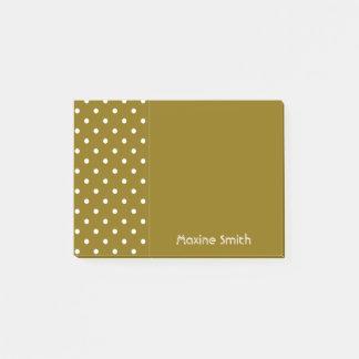 Goldene Ulmen-personalisierte Polka-Punkte Post-it Klebezettel