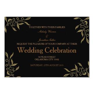 Goldene Verzierungs-Hochzeits-Einladungs-Karte 12,7 X 17,8 Cm Einladungskarte