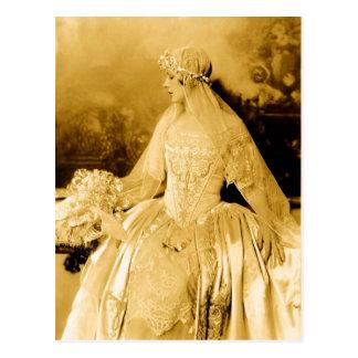 Goldene Vintage Braut-Fotografie Postkarte
