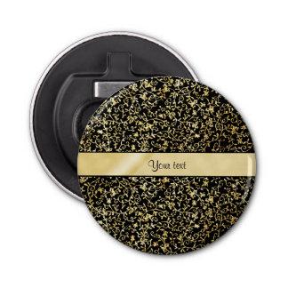 Goldener BlumenSchnörkel u. Wirbels-Schwarzes Runder Flaschenöffner