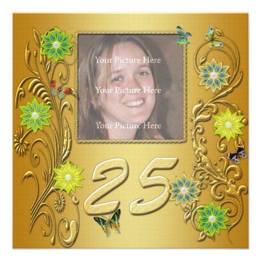 Goldener Garten-25. Geburtstags-Party Einladung