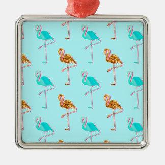 Goldener Glitter und blaues Flamingo-Muster Quadratisches Silberfarbenes Ornament