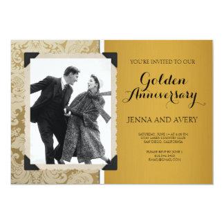 Goldener Jahrestags-Einladungs-Damast 12,7 X 17,8 Cm Einladungskarte