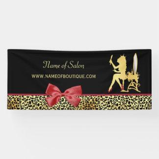 Goldener Kronen-Leopard-Druck mit rotem Banner