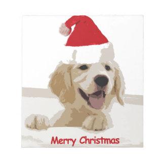 Goldener Retriever-Weihnachten mit Notizblock