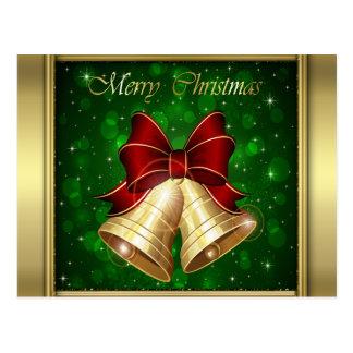 Goldener roter Bogen Weihnachtsbell Postkarte