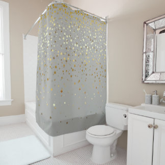 Goldener Stern-Duschvorhang im Grau Duschvorhang