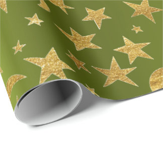 Goldener Stern-Mond-Himmel metallisches grün Cali Geschenkpapier