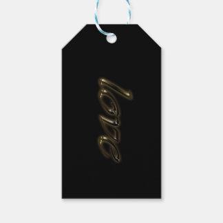Goldener Typografie-Goldtext-glänzende elegante Geschenkanhänger