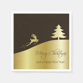 Goldener Weihnachtsbaum mit Ren-Papierserviette Servietten