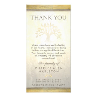 Goldenes Baum-Beileid danken Ihnen zu kardieren Karte