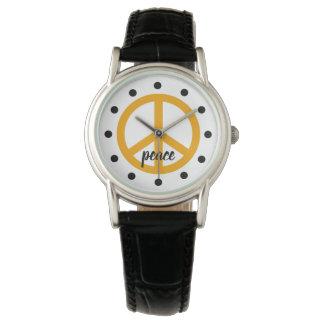 Goldenes gelbes Friedenssymbol personalisiert Armbanduhr