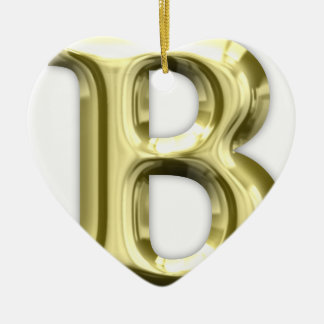 Goldenes glänzendes Alphabet des Buchstabe-B Keramik Herz-Ornament