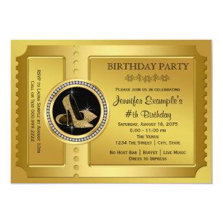 Goldenes Karten-Geburtstags-Party 12,7 X 17,8 Cm Einladungskarte