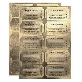 Goldenes Kartenraffle-Zeichnen 12,7 X 17,8 Cm Einladungskarte