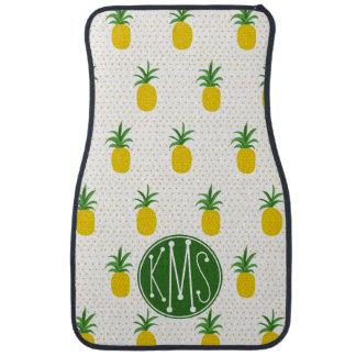 Goldenes tropisches Monogramm der Ananas-| Autofußmatte
