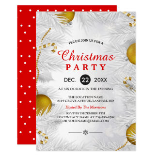 Goldenes Verzierungs-Silber-weißes WeihnachtsParty Karte