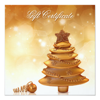 Goldenes Weihnachten - Geschenkgutschein Quadratische 13,3 Cm Einladungskarte
