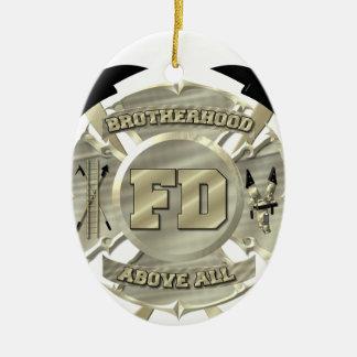 Goldfeuerwehrmann-Bruderschafts-Symbol Ovales Keramik Ornament