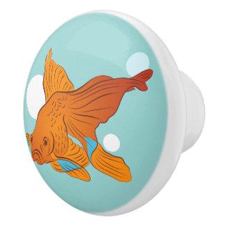 Goldfisch und Blasen grafisch Keramikknauf