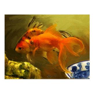 Goldfisch zwei postkarten