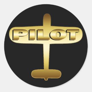 GOLDflugzeug-PILOT Runder Aufkleber