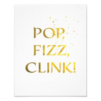 Goldfolie POP, FIZZ, CLINK Hochzeits-Party-Zeichen Fotodruck