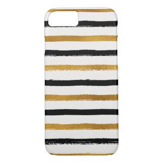 Goldfolie, Schwarzes und Creme-Streifen iPhone 8/7 Hülle