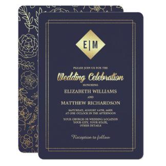 Goldfolien-elegante Hochzeits-Einladungen des 12,7 X 17,8 Cm Einladungskarte