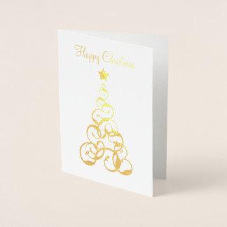 Goldfolien-Weihnachtsbaum-Gruß-Karte Folienkarte