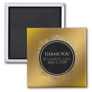 GoldGastgeschenk Hochzeit danken Ihnen Boho Quadratischer Magnet