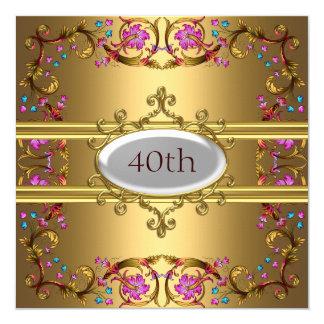 Goldgeburtstags-Party-Blumen-Gold Karte
