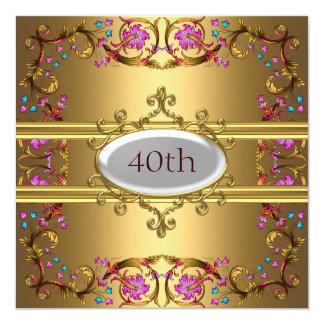 Goldgeburtstags-Party-Blumen-Gold Quadratische 13,3 Cm Einladungskarte